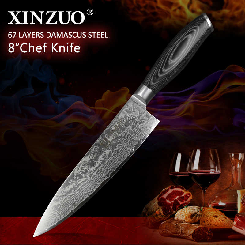 "XINZUO 8"" inch Professionl Chef Knife Damascus vg10 Steel Pakkawood Handle Kitchen Knife Steel Stainless Steel Japanese Knives"