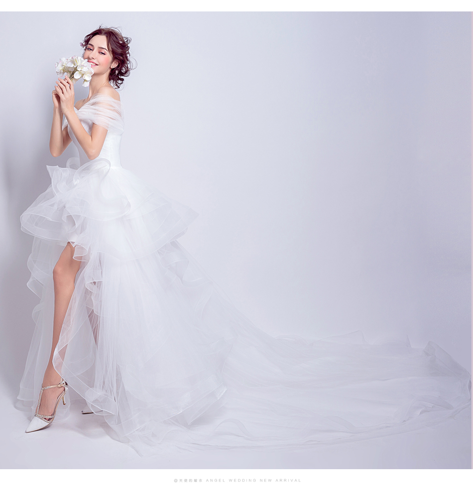 Angel Wedding Dress Marriage Evening Bride Party Prom Bridal Gown Vestido De Noiva 2017 Boat Neck asymmetrical7207 12