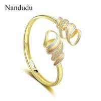 Nandudu Flower Shape Open Cuff Bracelet Bangles for Women 3 tones High Quality Brass Cubic Zirconia Accessories Gift B1111