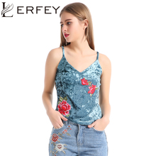 LERFEY Tank Top Women Velvet Embroidery Camisole Vest V Neck Bustier Loose Backless Summer Sleeveless Sexy Strappy Camis Tops