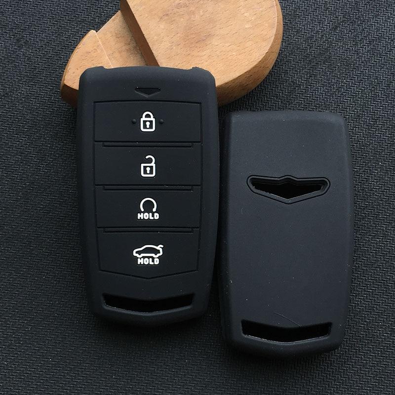 Силиконовый чехол для автомобильного ключа чехол для genesis G70 G90 G80 для hyundai 4 кнопочный ключ