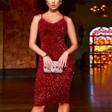 Sexy Summer Dress Womens Sexy Bodycon Sling Party Sequined Dresses Fashion Femmes Off Shoudler V Neck Dress