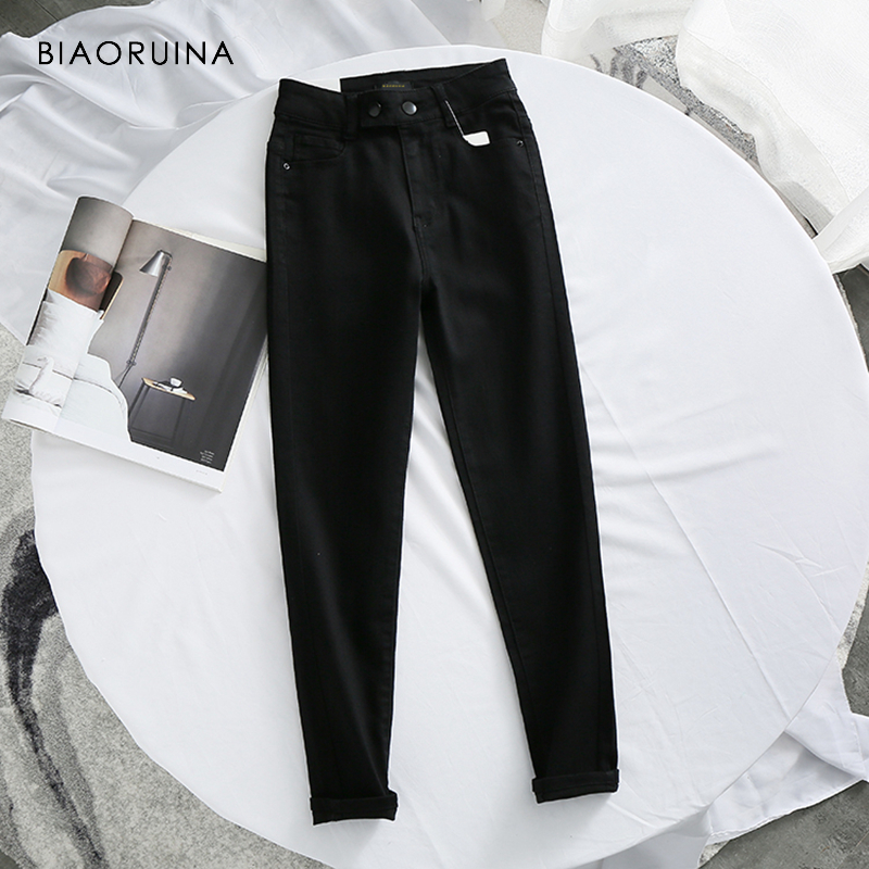 BIAORUINA Women Fashion Washing Bleached Ankle-Length Jeans Female Casual High Waist Slim Pencil Jeans Girls Jeans Streetwear