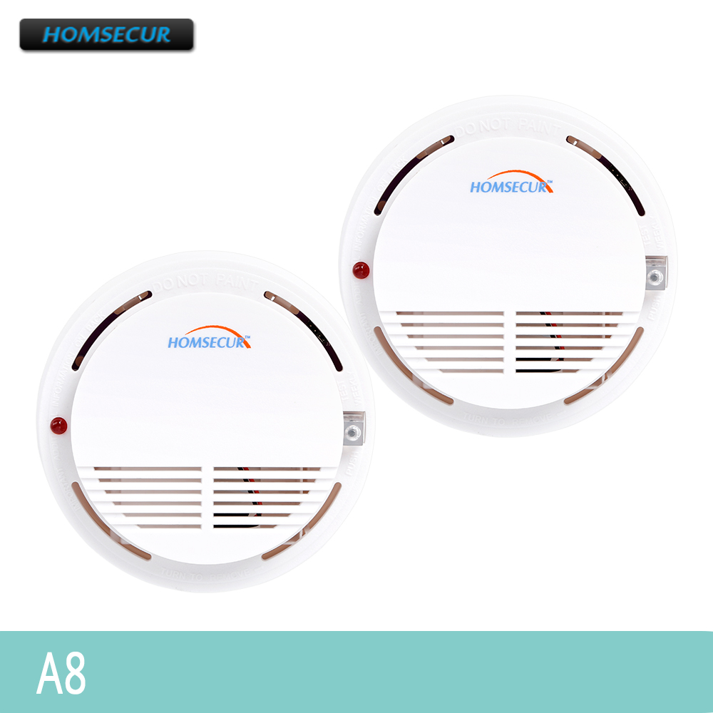 HOMSECUR 2pcs A8 433MHz Wireless Smoke/Fire Alarm Sensor For Our Alarm System