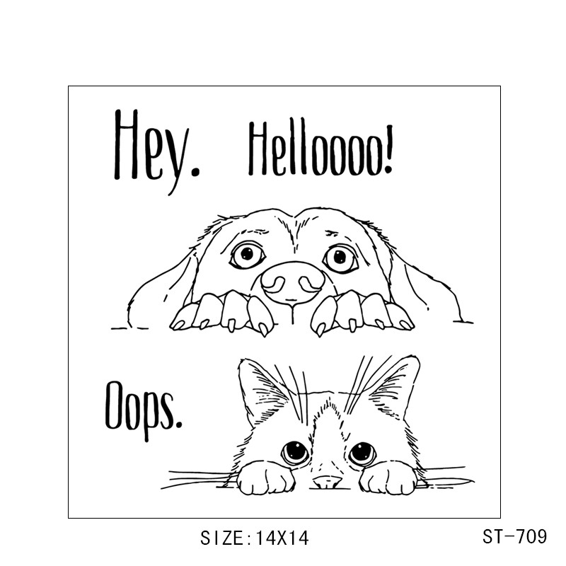 ZhuoAng Hey Hello Cute dog head Transparent and Clear Stamp DIY Scrapbooking Album Card Making DIY Decoration Making in Stamps from Home Garden