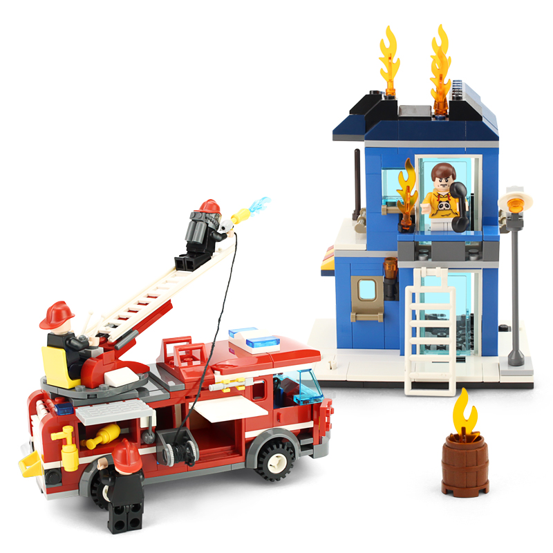 GUDI City Fire Emergency Truck DIY Building Block Sets Brick Collectible 431pcs Safe Educational Toys For Children Gifts loz mini diamond block world famous architecture financial center swfc shangha china city nanoblock model brick educational toys