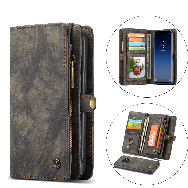Luksus Flip Leather Telefonveske For Samsung Galaxy S9 S9 S8 Plus S7 edge Veske Kort lommebok Business Magnetisk avtakbar bakdeksel