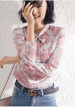 PIXY Pink 100% Silk Blouse Women Sweet Bow Collar Long Sleeve Shirts Office Ladies Tops Spring Print Korean Shirt fashionnova