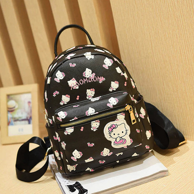 6b3f89d6df 2016 Fashion Women hello kitty pu Leather Backpack School Bags for Teenage  Girls Lady Travel small Backpacks Mochila Feminina