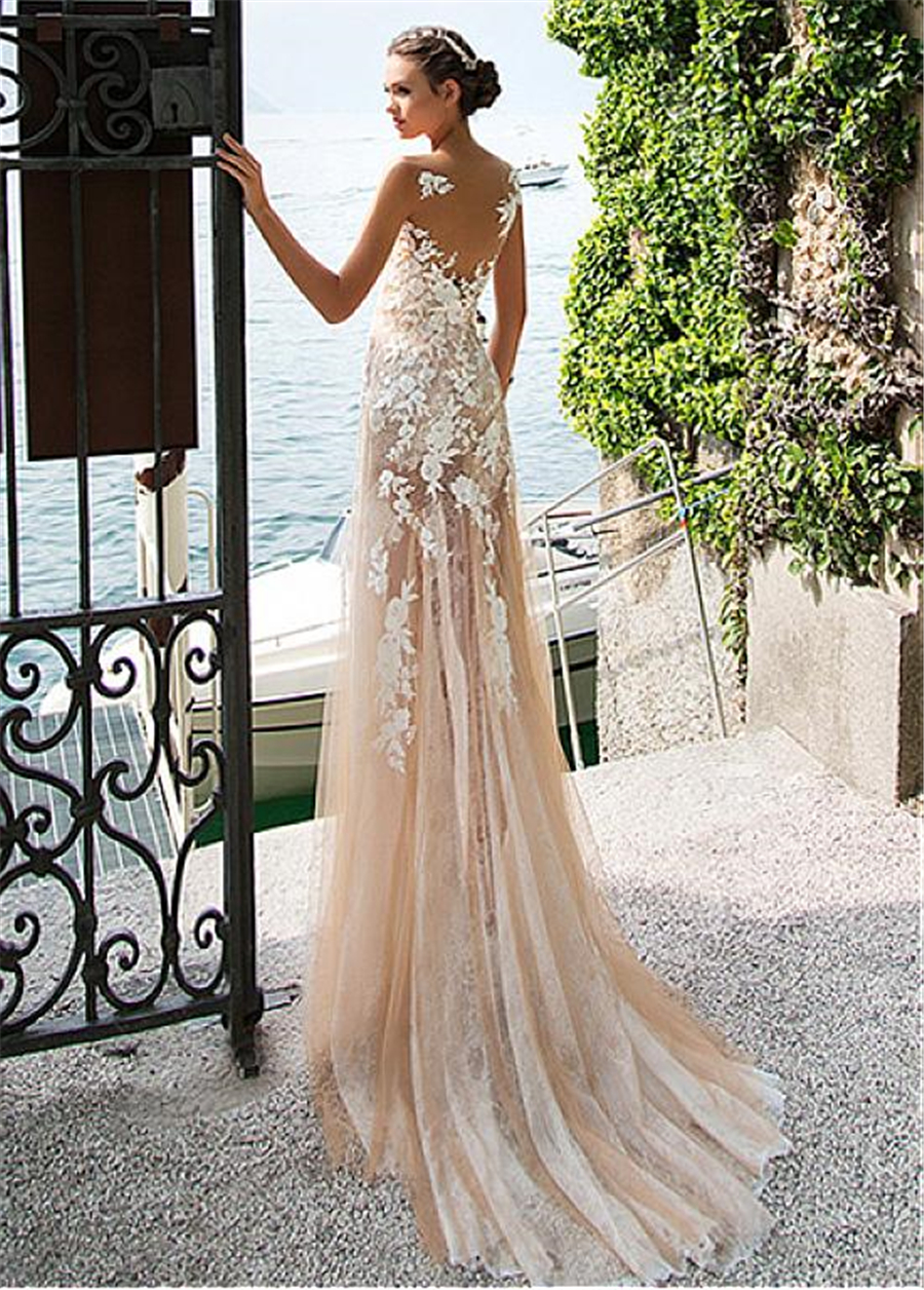 Image 4 - Marvelous Lace Bateau Neckline See through Sheath Wedding Dresses With Lace Appliques Champagne Bridal Dress with Color-in Wedding Dresses from Weddings & Events