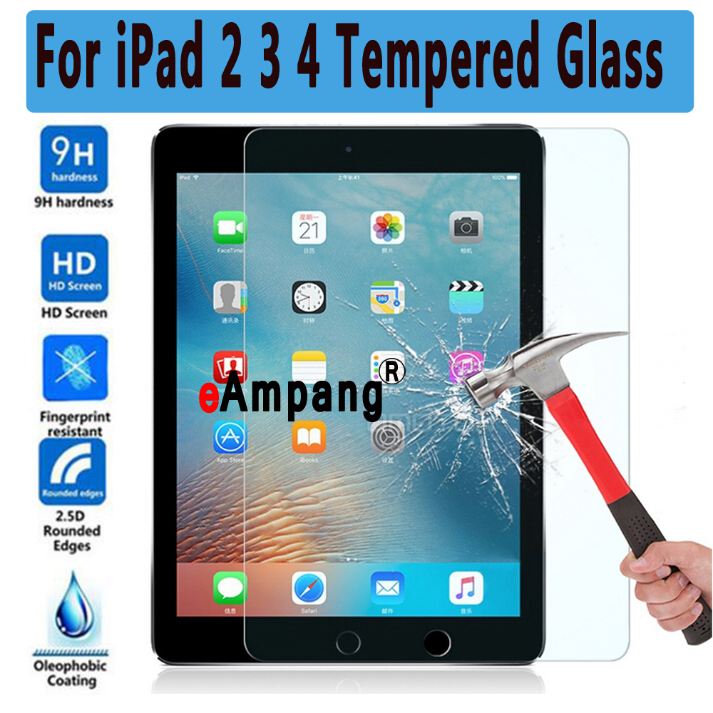 Premium Tempered Glass for Apple iPad 2 3 4 Clear ScratchProof Screen Protector Glass Film for iPad2 / iPad3 / iPad4 9.7 inch