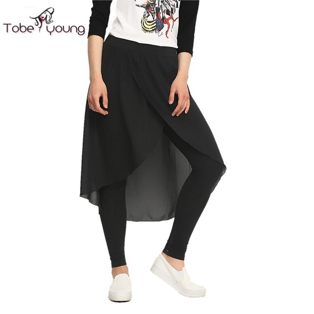 2016 S-XXL Fashion Elastic High Waist Skirt Pants Women Irregular Skinny Leggings Calzas Deportivas Casual Jeggings Boho Autumn