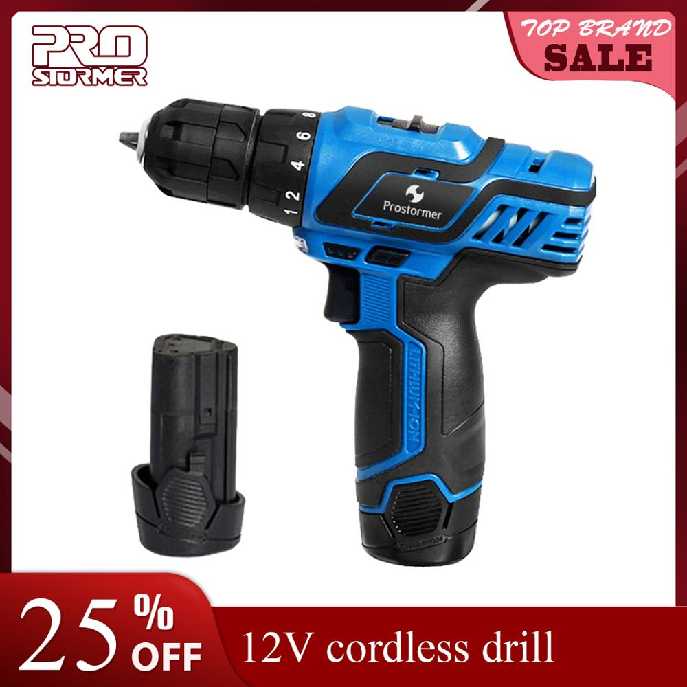 Prostormer mini Electric Drill 12 Volt Max Lithium Ion Battery 35N m Cordless Drill power tool