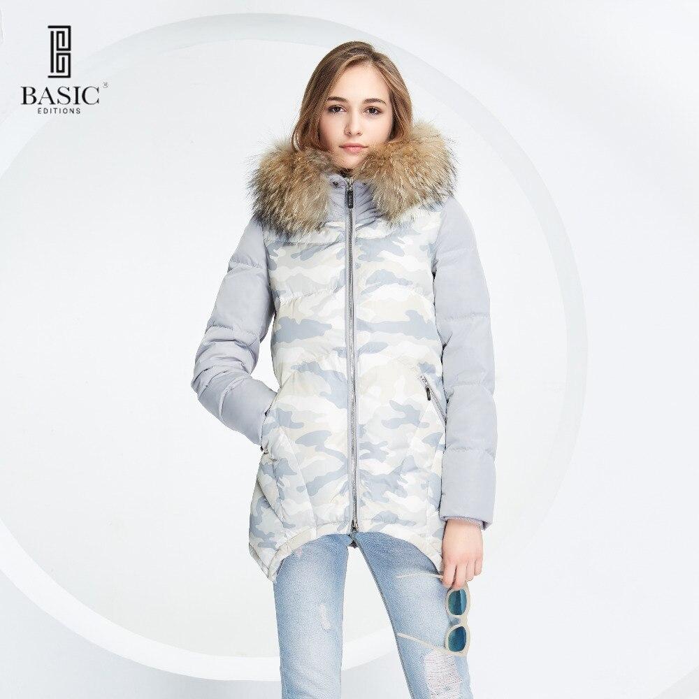 Основные Vogue Для женщин зимний камуфляж шаблон с коротким пальто Подпушка куртка с Мех животных капюшон-y16083