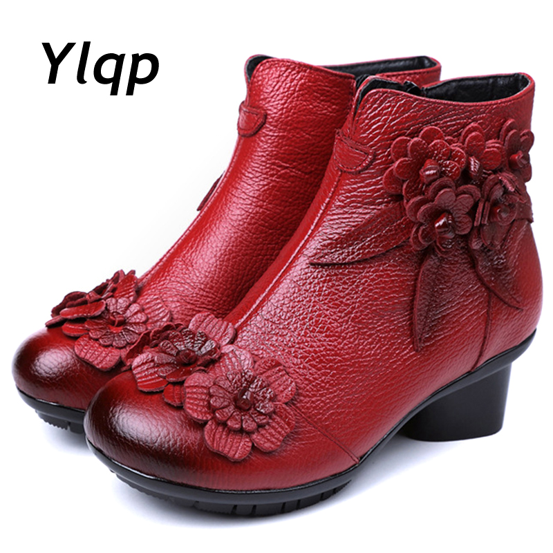 2019 New Arrival Vintage Boots Genuine Leather Ankle Boots New Winter Women Warm Shoes Soft Non-Slip Bottom Soles Plus Size