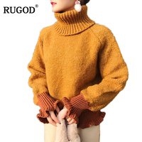 RUGOD 2018 New Arrival Casual Women Sweater Loose Style Female Pullover Turtleneck Lady Jumper Elegant Knitted
