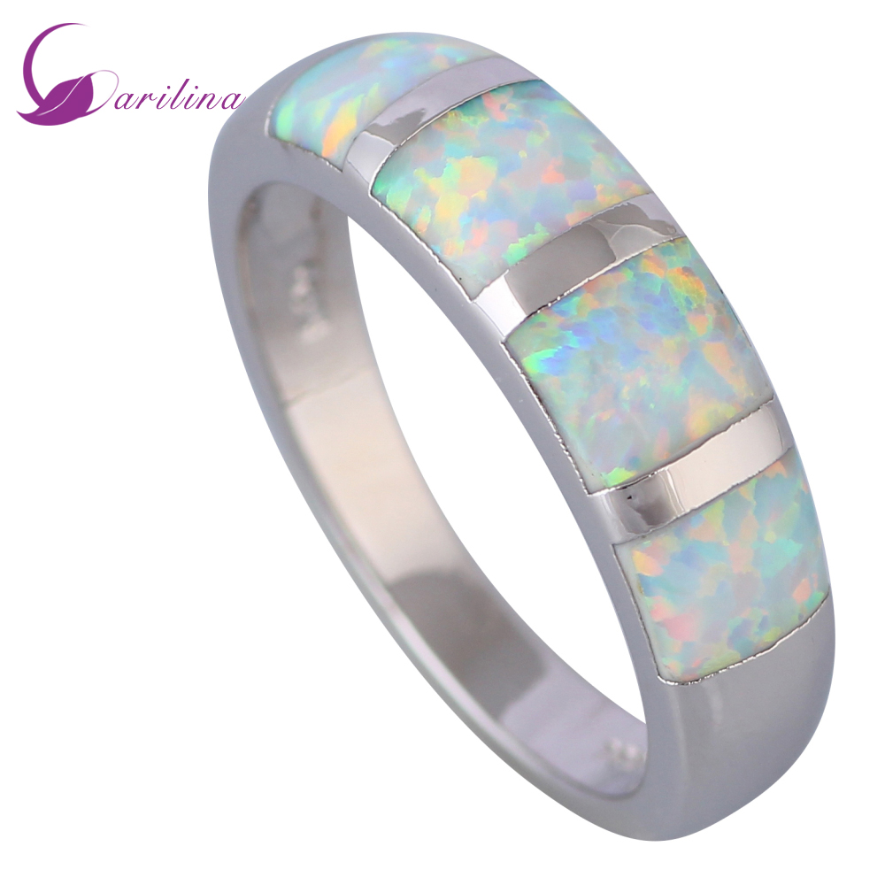 Mode Opalringar Fina smycken Damringar White Fire Opal 925 Sterling Silver Wedding Party ring storlek 5 6 7 8 9 R520