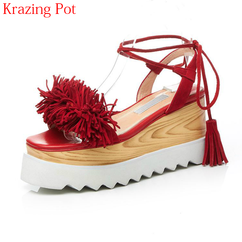 2018 Sheep Suede Peep Toe Gladiator Ankle Straps Platform Tassel Sandals Lace Up High Heels Wedges Summer Causal Women Shoes L27 2018 new popular gladiator style cow leather peep toe ankle straps fashion women med heel sandals summer brand causal shoes l80
