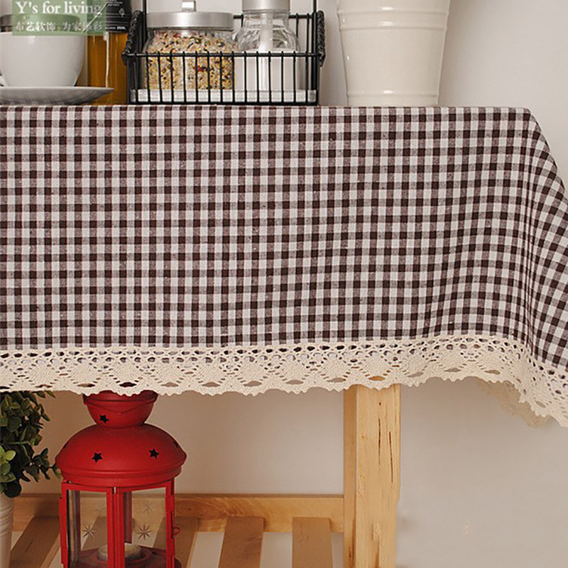 Modern Coffee Plaid Rectangle Linen Table Cloth Lace Edge