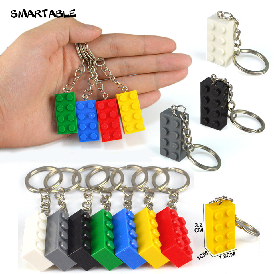 Smartable Brick 2x4 2x2 2x3 1x4 Key Chain Building Block Toy For Kids Christmas Gift Keychain Decorations Mixed Colors 30pcs/lot