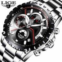 LIGE часы для мужчин модные кварцевые спортивные часы для мужчин s часы лучший бренд класса люкс Полный сталь водонепроница