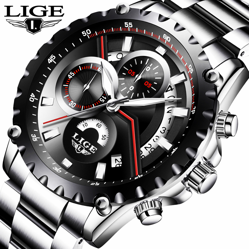 LIGE Watch Men Fashion Quartz Sport Clock Mens Watches Top Brand Luxury Full Steel Waterproof Business Watch Relogio Masculino lige mens watches top brand luxury fashion business quartz watch men sport full steel waterproof clock man box relogio masculino