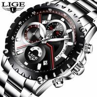 LIGE Watch Men Fashion Quartz Sport Clock Mens Watches Top Brand Luxury Full Steel Waterproof Business Watch Relogio Masculino