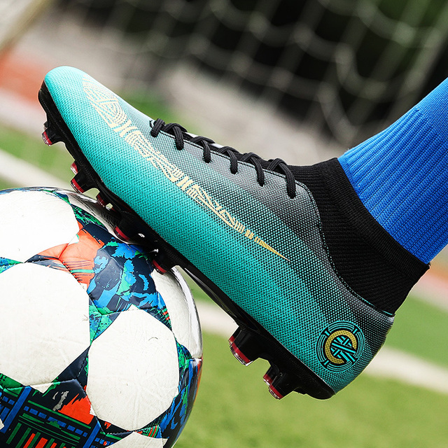 0632c966e High Top Soccer Shoes Lake Blue White Man Football Sneakers Spring Autumn  Football Turf Cleats Lightweight Shoes Spikes Men