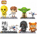 LOZ Blocks Cartoon Yoda Darth Vader DIY Model Building Blocks Stormtrooper Luke Skywalker Leia Organa Wicket Boba Fett