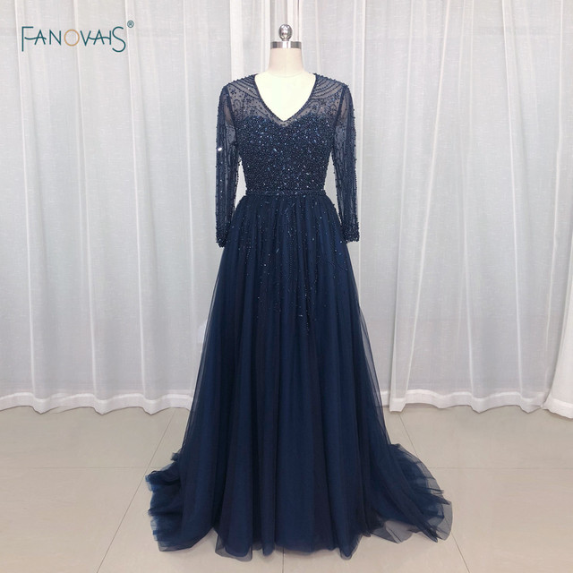 Navy Evening Dresses Long Sleeves A-Line Beaded Plus Size Prom Dress 2019 Tulle Formal Evening Gown NE13