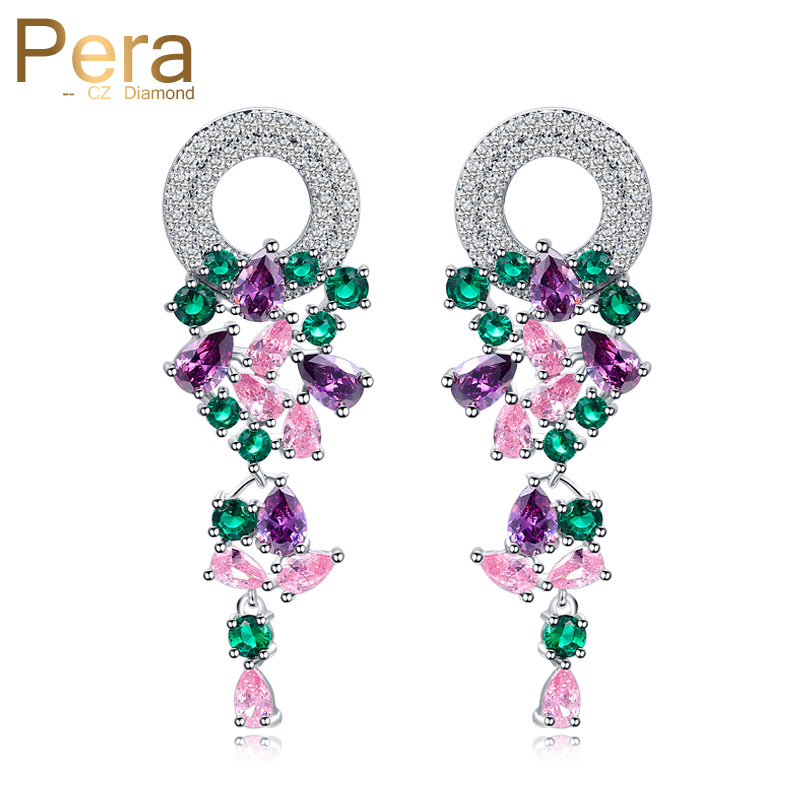Pera High Quality Bohemia Style CZ Jewelry Big Colorful Round Cubic Zirconia Long Dangle Drop Earrings For Women Party Gift E317 for honda cbr 600 rr 2005 2006 injection abs plastic motorcycle fairing kit bodywork cbr 600rr 05 06 cbr600rr cbr600 rr cb15