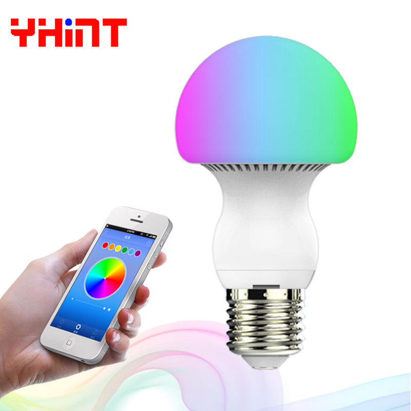 dimmable bulb smart led lights for home E27 6W intelligent color change with Mobile phone APP Multi control networking RGB e27 intelligent dimmable colorful led bluetooth speaker remote control smart home smart light bulb app control for ios android