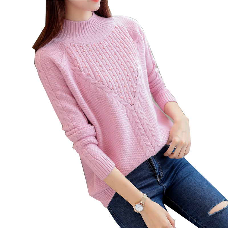 new women sweater pullover sweaters half turtleneck beading girl casual clothes knitwear lady korean fashion design outfit