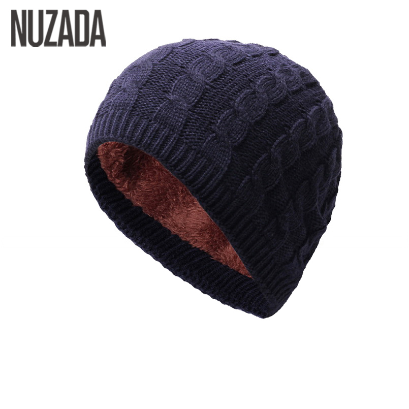 Brand NUZADA Internal Plush Winter Autumn Men Women Skullies Beanies Hedging Cap Knit Knitted Caps Bonnet Hat Keep Warm 35colors silver gold soild india scarf cap warmer ear caps yoga hedging headwrap men and women beanies multicolor fold hat 1pc