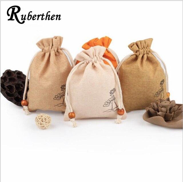 Ruberthen Impresso Saco De Linho Saco De Coleção de Jóias Bolso Com Cordão Saco Saco de Armazenamento De Jóias Contas