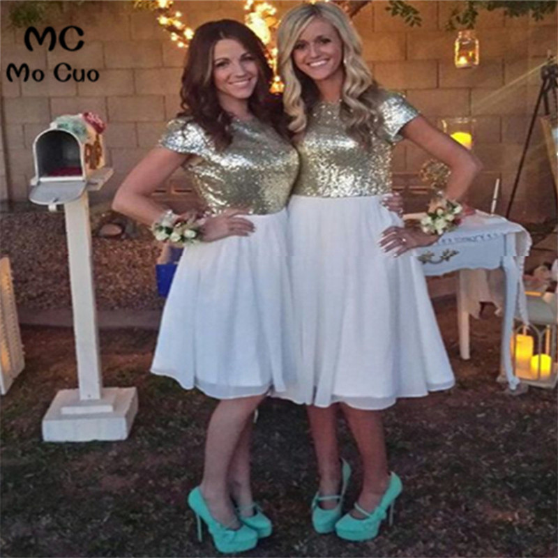2018 Cheap Knee Length Sequins vestidos de madrinha robe demoiselle d'honneur vestido de festa de casamento   bridesmaid     dress