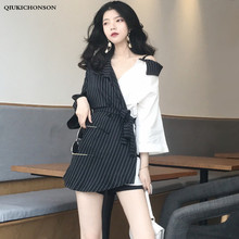 Gothic Girls Long Shirt Women Spring Summer Tops Personality Streetwear White Black Contrast Color Patchwork Striped Shirt Tunic недорого