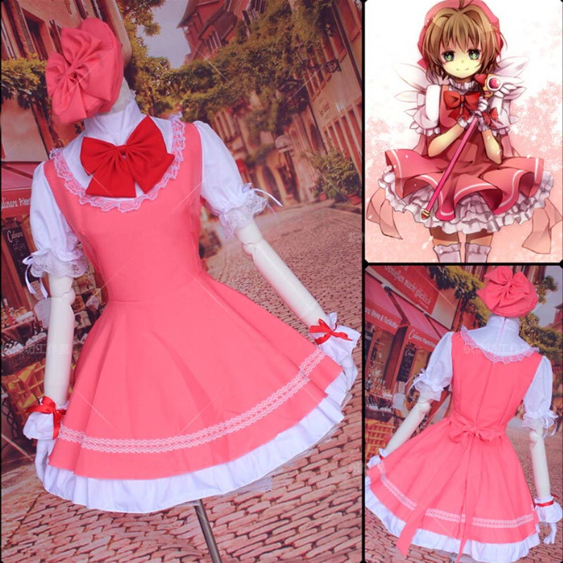 Anime Cardcaptor card captor Sakura Kinomoto Sakura cosplay costume dress cap