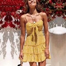 Cuerly Sexy bow ruffle short dress women Summer strap print elegant party beach dress female Casual daily boho dress vestidos L5