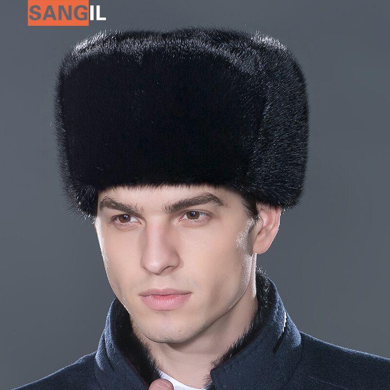 2016 Hot Sale Men S Gold Marten Hat Genuine Leather Mink