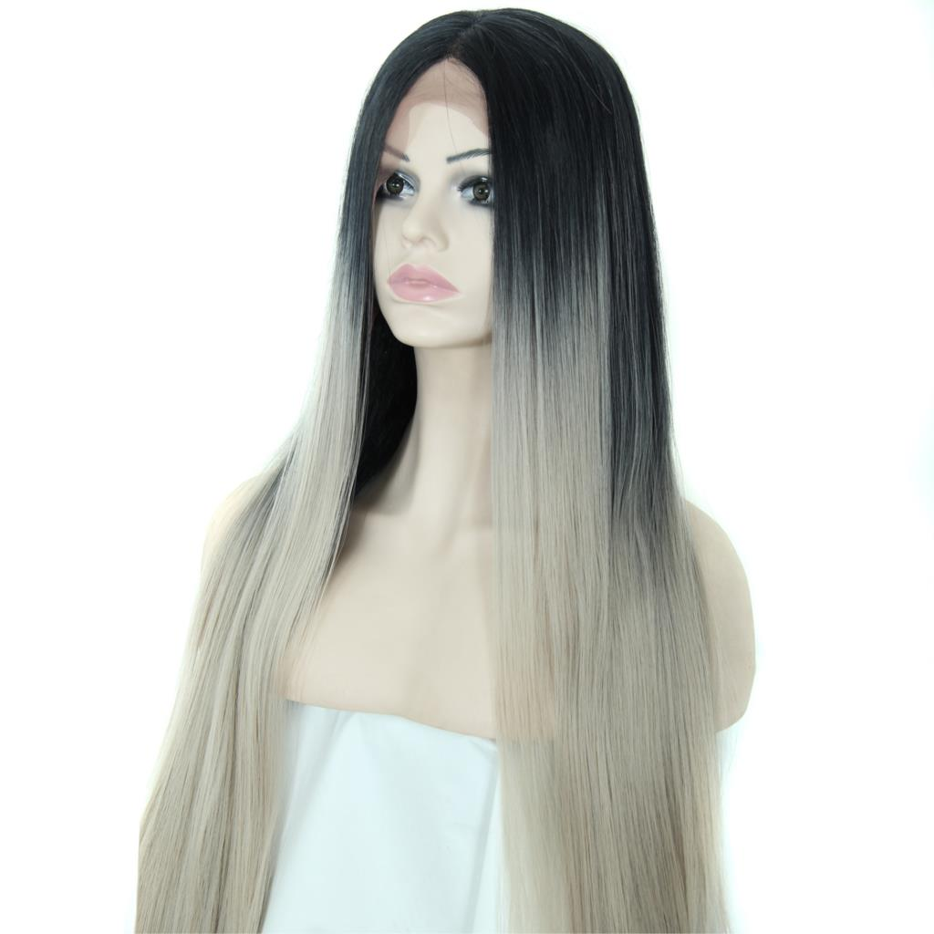 Wish Long Straight Silver Grey Synthetic Lace Front Wig