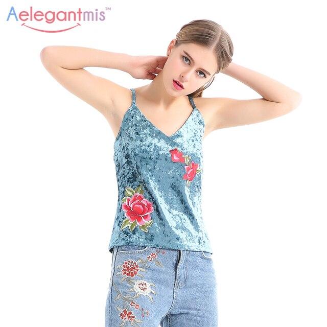 1ae32d4edaf570 Aelegantmis Crushed Velvet Tops Women Spring Blue Velour Flower Applique  Embroidery Tank Top V Neck Camisole Velvet Floral Top