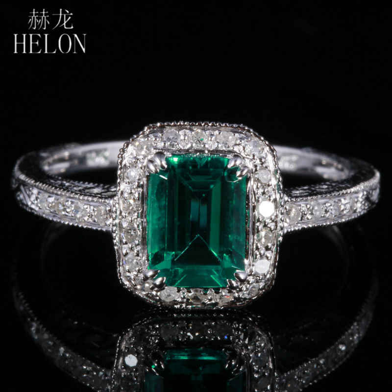 HELON 7X5mm 0.81ct Emerald Pave 0.2ct Diamonds Fine Ring Real 10K White Gold Engagement Wedding Art Deco Women Jewelry Ring
