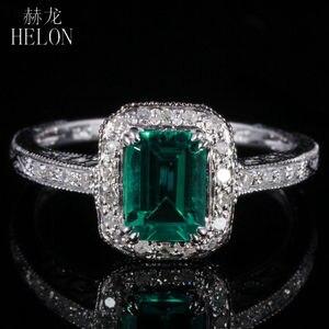 Женское кольцо с изумрудом HELON 7X5mm, 0,81ct, 0,2ct, бриллианты 10K, белое золото, для помолвки, свадьбы, арт-деко