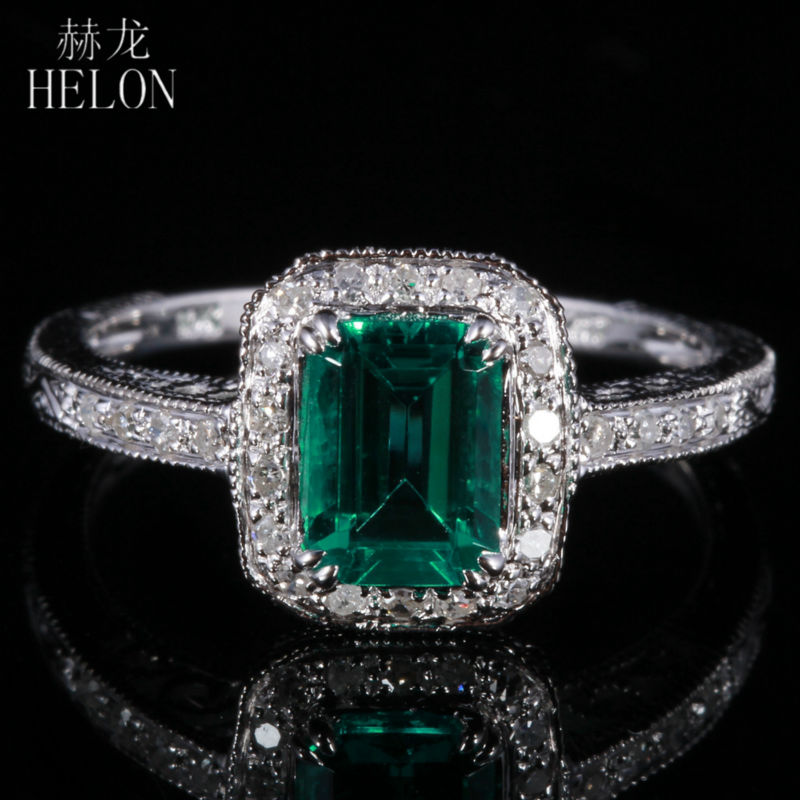 HELON 7X5mm 081ct Emerald Pave 02ct Diamonds Fine Ring Real 10K White Gold Engagement Wedding