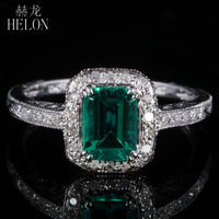 HELON 7X5mm 0.81ct Emerald Pave 0.2ct Diamonds Fine Ring Real 10K White Gold Engagement Wedding Art Deco Women Jewelry Ring