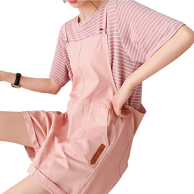 2019 New Summer Women's Suit College Style Striped T-shirt With Overalls Shorts Sets Female Two Piece Casual Suits Plus Size 4XL