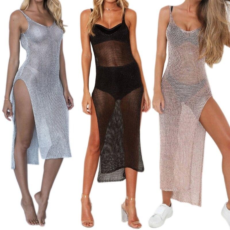 KLV 2018 Women Sexy Swimwear Bathing Suit One Piece Beach Dress Crochet Bikini Cover Up