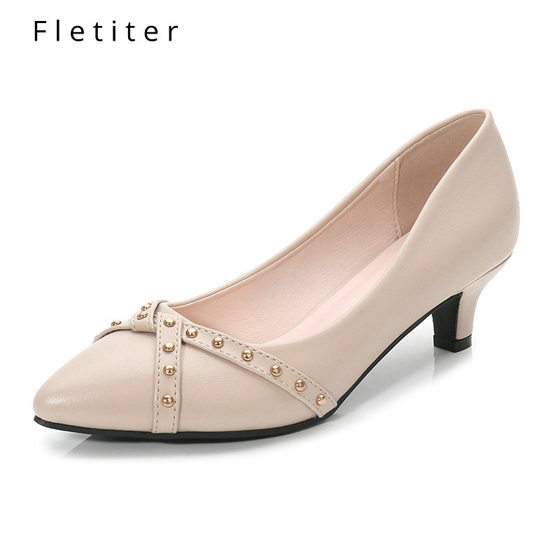 Fletiter 2019 Women Shoes Summer low Heels 4CM Pumps Kitten Heels Shoes Black Office Lady Classic Working Shoes Plus Size 33-43