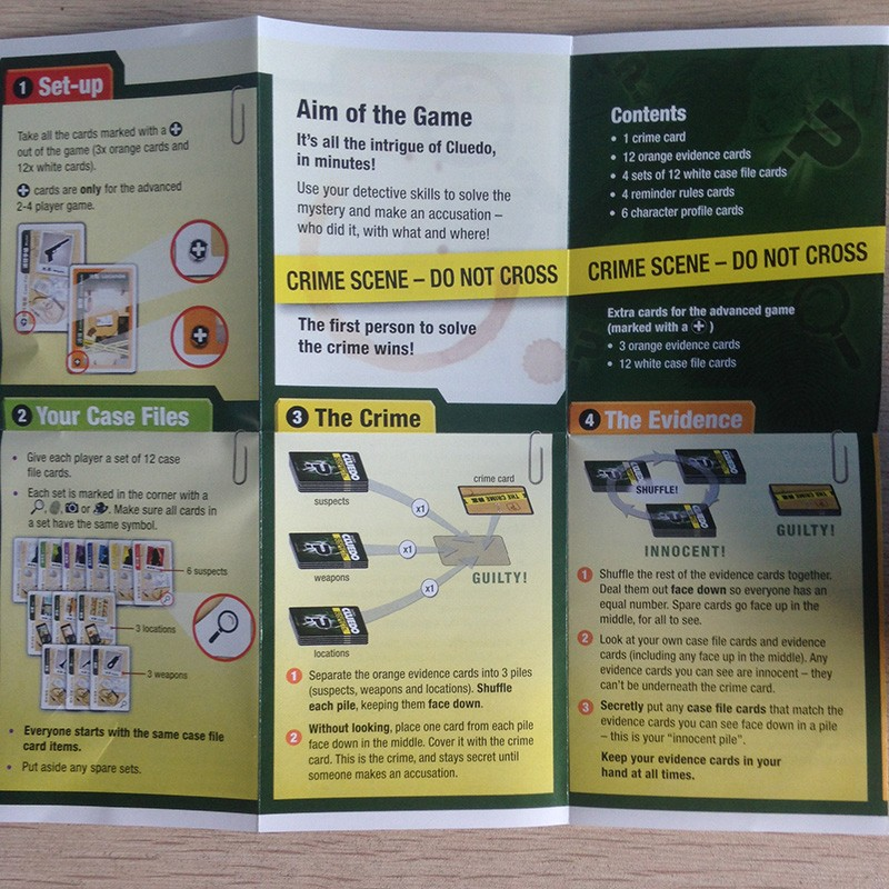 Cluedo Suspect Board Game Mental Logical Reasoning Card Game